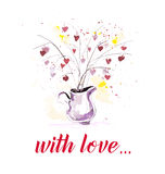 Vector Valentine day hand drawn artistic bouquet design element isolated on white background. Stock Photography