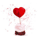 Vector Valentine day hand drawn artistic cake design element isolated on white background.