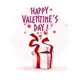 Vector Valentine day hand drawn artistic design box element isolated on white background. Stock Photo