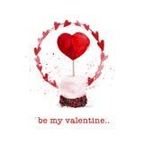 Vector Valentine day hand drawn artistic dessert Stock Image