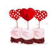 Vector Valentine day hand drawn artistic dessert element isolated on white background. Stock Photo