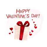 Vector Valentine day hand drawn artistic gift box Royalty Free Stock Images