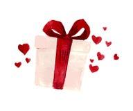 Vector Valentine day hand drawn artistic gift box Stock Photos