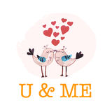Vector Valentine day hand drawn artistic kissing birds Stock Photography