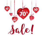 Vector Valentine day hand drawn artistic sale design element isolated on white background. Stock Image
