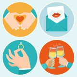 Vector valentine day illustrations in flat style. Hands and signs of love Royalty Free Stock Photo