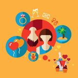 Vector valentine day illustrations in flat style. Romantic trip flat icon. Vector set infographic stock illustration
