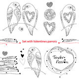 Vector Valentine day set in contour style. Outline couple of parrots in love, ornate hearts and frame isolated on white background Royalty Free Stock Photo