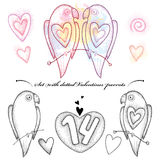 Vector Valentine day set in dotwork style. Dotted couple of parrots in love in black and pastel and hearts isolated on white. Stock Image