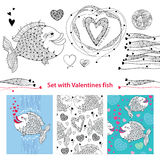 Vector Valentine day set with fishes in contour style. Outline cartoon fish, ornate hearts and greeting card isolated on white. Vector Valentine day set with Royalty Free Stock Images