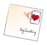 Vector valentine envelop. E isolated on white background Royalty Free Stock Photo
