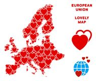 Vector Valentine European Union Map Mosaic of Hearts. Lovely European Union map collage of red hearts. We like European Union map concept. Abstract vector vector illustration