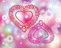 Vector Valentine festive card. With decorative red hearts and snowflakes on light colorful background Stock Photography