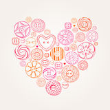 Vector Valentine Heart of Buttons Stock Images