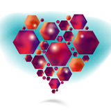 Vector valentine heart pattern of hexagonal Stock Photos