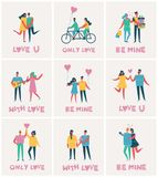 Valentine illustration cards in a flat style Royalty Free Stock Photography