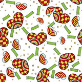 Vector Valentine Jester hearts and ribbons pattern. White background. Gift unpacked Royalty Free Stock Photos