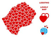 Vector Valentine Lesotho Map Mosaic of Hearts. Valentine Lesotho map composition of red hearts. We like Lesotho map concept. Abstract vector geographic plan is royalty free illustration