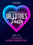 Vector valentine party poster or flyer design template. Valentine party greeting illustration night. Disco club dance event stock illustration
