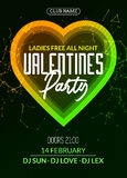 Vector valentine party poster or flyer design template. Valentine party greeting illustration night. Disco club dance event Stock Photos
