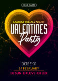Vector valentine party poster or flyer design template. Valentine party greeting illustration night. Disco club dance event Royalty Free Stock Photos
