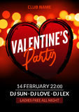 Vector valentine party poster or flyer design template. Valentine party greeting illustration night. Disco club dance event Royalty Free Stock Image