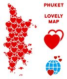 Vector Valentine Phuket Map Composition of Hearts. Romantic Phuket map composition of red hearts. We like Phuket map template. Abstract vector area plan is stock illustration