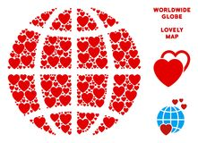Vector Valentine Planet Globe Composition of Hearts. Romantic planet globe mosaic of red hearts. We like planet globe concept. Abstract vector territory scheme vector illustration