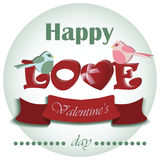 Vector Valentine romantic background with hearts and pigeons . Greeting card inscription. Vector Valentine romantic background with hearts and greeting Stock Photos