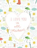 Vector valentine's card with weather elements stock illustration