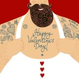 Vector Valentine's cartoon illustration of mighty male chest. Funny cartoon illustration of mighty sexy men chest with love  tattoos and Happy Valentine's day Royalty Free Stock Photos