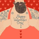 Vector Valentine's cartoon illustration of mighty male chest Royalty Free Stock Photography