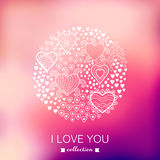 Vector Valentine's Day background, round, circle made of hearts. Stock Image