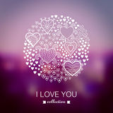 Vector Valentine's Day background, round, circle made of hearts. Stock Photography