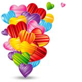 Vector Valentine`s day background with striped pattern hearts. Design illustration Stock Images