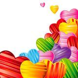 Vector Valentine`s day background with striped pattern hearts. Design illustration Stock Photos