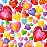 Vector Valentine`s day background with striped pattern hearts ,. Design illustration Stock Photo