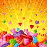 Vector Valentine`s day background with striped pattern hearts ,. Design illustration Royalty Free Stock Photo