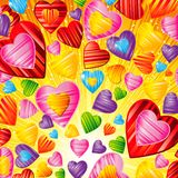 Vector Valentine`s day background with striped pattern hearts ,. Design illustration Stock Image