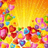 Vector Valentine`s day background with striped pattern hearts ,. Design illustration Stock Images