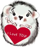 Vector Valentine`s Day card with hedgehog and heart Royalty Free Stock Image