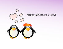 Vector valentine´s day card with penguin Royalty Free Stock Images