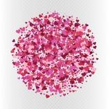 Vector valentine`s day confetti decoration. Vector colorful pink heart shaped confetti circle. Valentine`s day decoration on white transparent background Stock Image