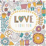 Vector Valentine's Day doodles. Romantic hand drawn elements Royalty Free Stock Images