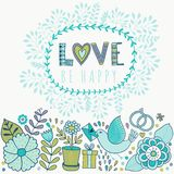 Vector Valentine's Day Greeting card with flowers and birds. Vector romantic  frame with floral elements Stock Image