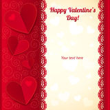 Vector Valentine's day greeting card with hearts Stock Photos