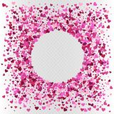 Vector heart shaped pink confetti frame decoration. Vector Valentine`s day heart shaped colorful pink confetti frame decoration Royalty Free Stock Image