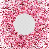 Vector Valentine`s day heart shaped confetti frame decoration. Vector Valentine`s day heart shaped colorful pink confetti frame decoration Stock Photography