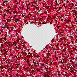Vector valentine`s day heart shaped frame decoration. Vector red pink colorful heart shaped confetti background. Valentine`s day heart shaped frame decoration Stock Images