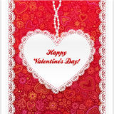 Vector Valentine's day lacy heart greeting card Royalty Free Stock Photography